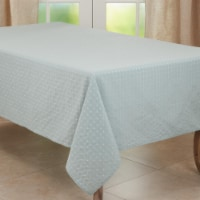 SARO 2136.A65140B 65 x 140 in. Oblong Aqua Stitched Line Tablecloth