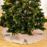 SARO 1025.S72R 72 in. Round Silver Beaded Christmas Tree Skirt - 1
