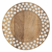 SARO CH214.N13R Wood Charger Plates with Dot Design - Set of 4 - 1