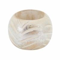 SARO NR202.S Distressed Metallic Wood Napkin Rings - Set of 4