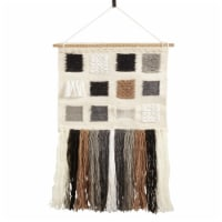 SARO WA986.M Textured Woven Wall Hanging with Long Tassels  Multi Color - 1