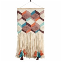 SARO WA987.M Textured Woven Wall Hanging with Tassel & Fringe Design  Multi Color - 1