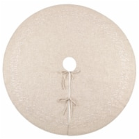 SARO 493.N68R 68 in. Round Natural Embroidered Design Tree Skirt - 1