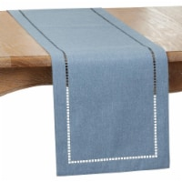 SARO 9738.DN1490B 14 x 90 in. Oblong Denim Laser-Cut Hemstitch Table Runner