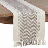 Saro 1229.GY16108B 16 x 108 in. Kantha Stitch Oblong Table Runner, Gray