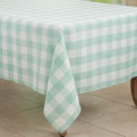 Saro 5026.G70S 70 in. Cotton Blend Buffalo Square Plaid Tablecloth, Green - 1