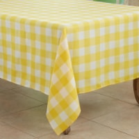 Saro 5026.Y70S 70 in. Cotton Blend Buffalo Square Plaid Tablecloth, Yellow - 1