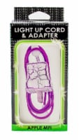 James Paul Products Lightning Pattern Light Up Cord & Adapter - White/Purple - 4 ft