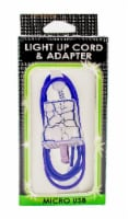 James Paul Products Light Up Micro USB Cord & Adapter - White/Blue