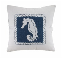 White And Blue Seahorse Decorative Canvas Throw Pillow - One Size
