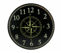 Black and White Compass Rose Round Wall Clock - Small