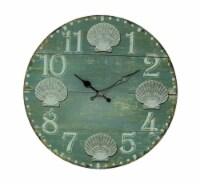 Sea Green Weathered Wood Coastal Seashell Wall Clock - One Size