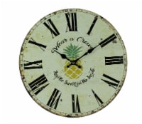 Vintage White Tropical Pineapple Wear a Crown Wall Clock - One Size
