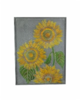 Galvanized Metal Canvas Sunflower Painting Wall Art Large Hanging Picture Decor - One Size