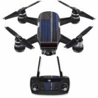 MightySkins DJSPCMB-Thin White Line Skin Decal for DJI Spark Mini Drone Combo - Thin White Li - 1