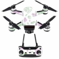 MightySkins DJSPCMB-Water Color Flowers Skin Decal for DJI Spark Mini Drone Combo - Water Col - 1