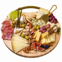 """Bamboo Cheese Board and Knife Set, 13"""" Round Charcuterie Board - 1"""