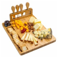 Bamboo Cheese Board and Knife Set, Charcuterie Board - 1