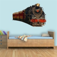 VWAQ Vintage Train Wall Decal Realistic Train Wall Decals Peel And Stick Mural - PAS2 - 1