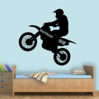 VWAQ Dirt Bike Wall Decals with Name for Boys Room Motocross Wall Sticker - TTC9 - 1