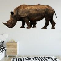 VWAQ Rhino Vinyl Wall Sticker - Rhinoceros Decor, Realistic Animal Wall Decals - PAS25 - 1