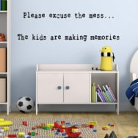 VWAQ Please Excuse The Mess Wall Decal Kids Playroom Wall Stickers Quotes for Childrens Rooms - 1