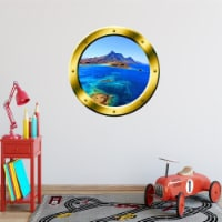 VWAQ Ocean Side Cliff View Gold Porthole Peel and Stick Vinyl Wall Decal - GP11 - 1