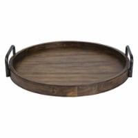 Uttermost 18749 Reine Round Wooden Tray - Veneer, Acacia Wood & Metal