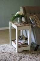 White Combo End Table - 22x14x26H