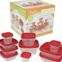DDI 2335243 Clear Plastic Container with Lids - Red, 20 Piece - Case of 12
