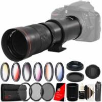 Vivitar 420-1600mm Telephoto Zoom Lens + T-mount For Canon Eos Dslr Filter Kit - 1