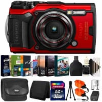 Olympus Tough Tg-6 Digital Camera Red + 32gb Card + Photo Editor Bundle & Kit - 1