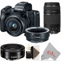 Canon Eos M50 Mirroless Camera W/ 15-45mm + Adapter + 75-300mm + 22mm Kit - 1