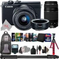 Canon Eos M100 Mirroless Camera W/ 15-45mm + Adapter + 75-300mm Accessory Bundle - 1