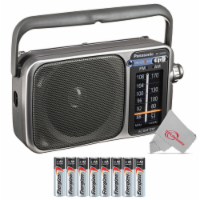 Panasonic Rf-2400d Portable Fm And Am Radio With Afc Tuner Silver With 8 Aa Batteries - 1