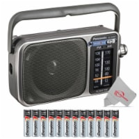 Panasonic Rf-2400d Portable Fm And Am Radio With Afc Tuner Silver With 12 Aa Batteries - 1