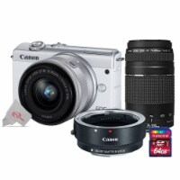 Canon Eos M200 24.1mp Aps-c Mirrorless Digital Camera White With 15-45mm + 75-300mm Lens Kit - 1