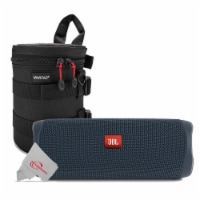 Jbl Flip 5 Portable Waterproof Bluetooth Speaker - Blue With Case - 1