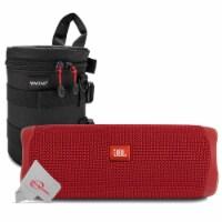 Jbl Flip 5 Portable Waterproof Bluetooth Speaker - Red With Case - 1