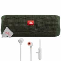 Jbl Flip 5 Portable Bluetooth Speaker Green With Wireless In-ear Headphones - 1