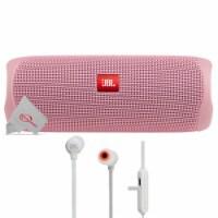 Jbl Flip 5 Portable Bluetooth Speaker Pink With Wireless In-ear Headphones - 1