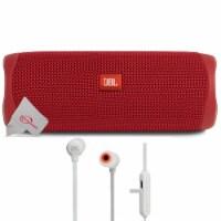 Jbl Flip 5 Portable Bluetooth Speaker Red With Wireless In-ear Headphones - 1