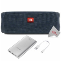 Jbl Flip 5 Portable Waterproof Bluetooth Speaker - Blue With Samsung 10000mah Power Bank - 1