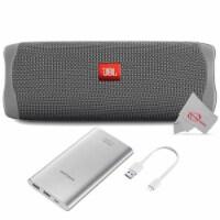 Jbl Flip 5 Portable Waterproof Bluetooth Speaker - Grey With Samsung 10000mah Power Bank - 1