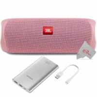 Jbl Flip 5 Portable Waterproof Bluetooth Speaker - Pink With Samsung 10000mah Power Bank - 1