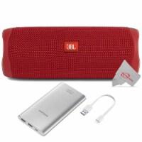 Jbl Flip 5 Portable Waterproof Bluetooth Speaker - Red With Samsung 10000mah Power Bank - 1