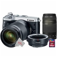 Canon Eos M6 24.2mp Mirrorless Digital Camera Silver With 18-150mm Lens + 75-300mm Lens Kit - 1