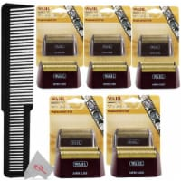 Five Packs Wahl 5 Star Series Red Replacement Foil #7031-200 With Styling Flat Top Comb