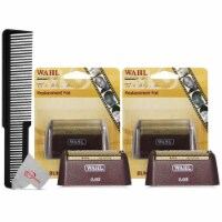 Two Packs Wahl 5 Star Series Red Replacement Foil #7031-300 With Styling Flat Top Comb - 1