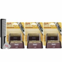 Three Packs Wahl 5 Star Series Red Replacement Foil #7031-300 With Styling Flat Top Comb - 1